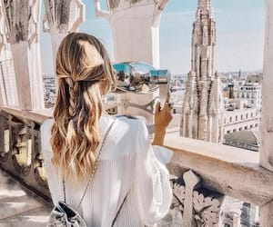 city, hair, and street image