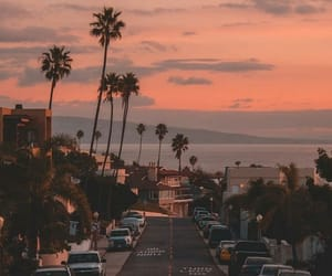 sunset, california, and palms image