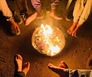 bonfire, fire, and foot image