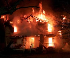 house, fire, and burn image