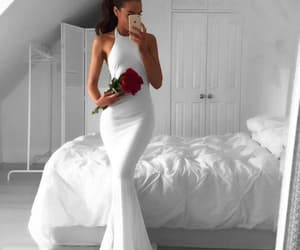 white prom dress, white evening dresses, and long evening gowns image