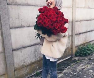 hijab, flowers, and fashion image