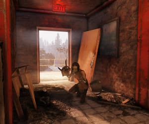 door, fallout, and crouched image