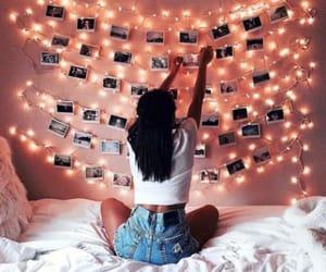 girl, light, and room image
