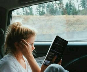 book, girl, and car image