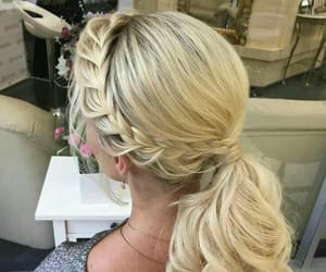 braids, hairs styles, and pony tail image