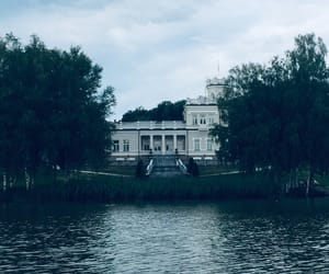 architecture, lake, and moody image