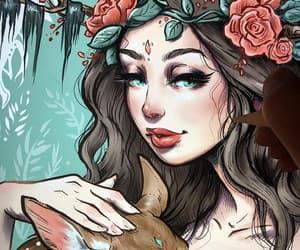 art, drawing, and drawn girl image
