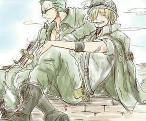 one piece, roronoa zoro, and sanji vinsmoke image