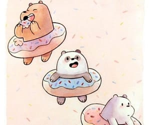 bear, cartoon, and donuts image