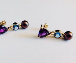 etsy, pierced earrings, and purple pearl image