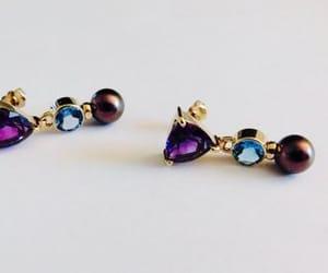 etsy, pierced earrings, and purple pearl image