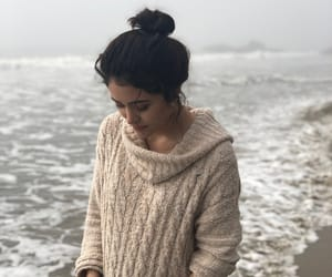 beach, photography, and oversized sweater image
