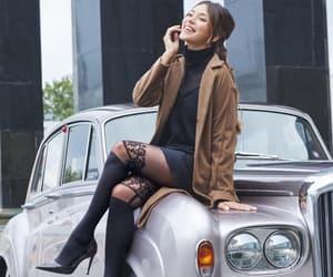black dress, black stockings, and fall fashion image