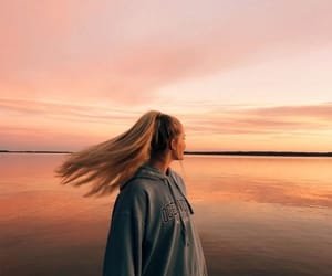 girl, hairstyle, and sky image