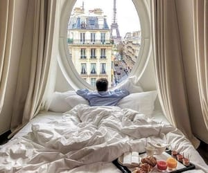 bed, cozy, and morning image