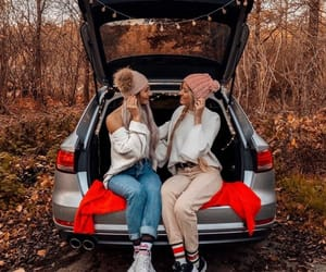 car, friends, and autumn image