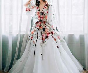 dress, flowers, and gala image