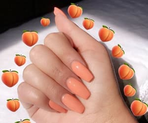 nails, girl, and peach image