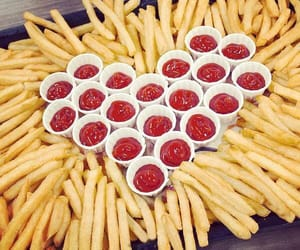 food, fries, and ketchup image