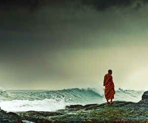 monk and ocean image