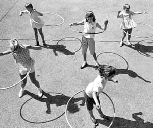 Action, black and white, and hoola-hoop image