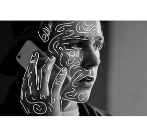 black and white, drawing, and skam image