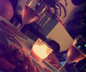candle, dinner, and pasta image
