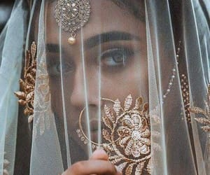 bride, nose ring, and wedding image