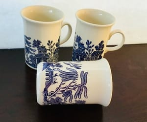 made in england, porcelain mugs, and vintage blue willow image