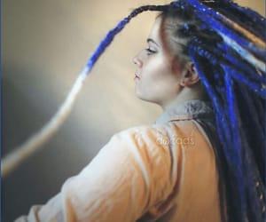 dreadlocks, blue dreads, and dreads image