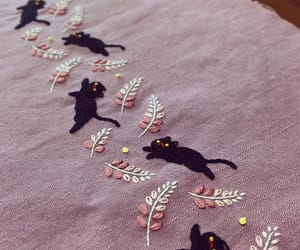 black, cat, and embroidery image