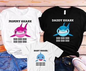 etsy, baby shark birthday, and mommy and me shirts image