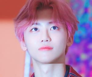 handsome, pink hair, and nct image