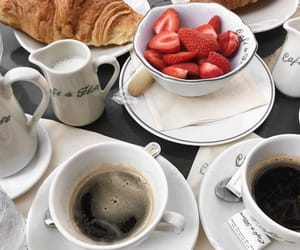 coffee, strawberries, and breakfast image