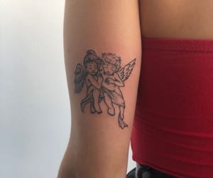 tattoo, angel, and red image