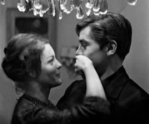 couple, Alain Delon, and black and white image