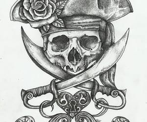 pirate, skull, and tattoo image