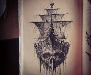 pirate, ship, and skull image