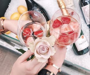 drink, champagne, and rose image