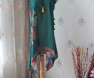 dark green dress, maxi dress, and cotton dress image