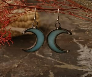 crescent moon, etsy, and stainglass image