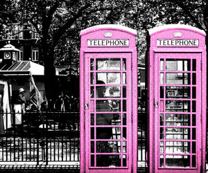 london, pink, and telephone image