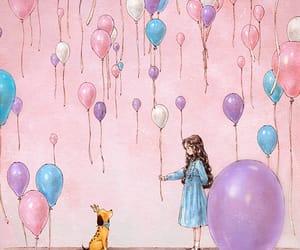 balloon, diary, and dog image