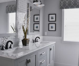 gray, restroom, and sink image