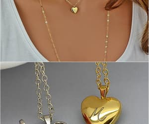 etsy, locket necklace, and gold necklace image
