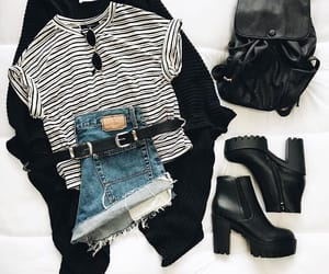 black boots, fashion, and jeans shorts image