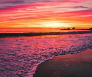 sunset, beach, and colorful image