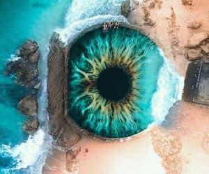 beach, eye, and blue image