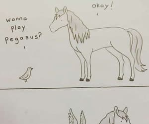 bird, doodle, and horse image